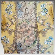 18th Century English Spitalfields Silk Panel Metallic Threads Flowers Bells