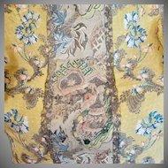18th Century English Spitalfields Silk Panel Metallic Threads Flowers Bells
