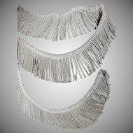 Antique French Silver Metallic Tassel Trim Passementerie 55""