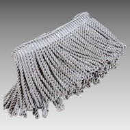 Antique French Tassel Trim Silver Metallic Trimming 55""
