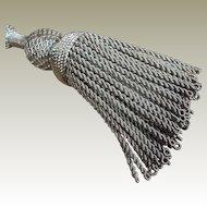 Antique French Tassel Tie Back Silver Metallic Threads