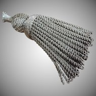Antique French Tassel Tie Back Silver Metallic Threads