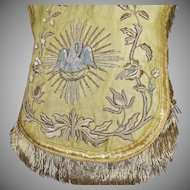 Antique French Ecclesiastical Cope Hood Vestment Silver Metallic Stumpwork Pelican Roses Flowers