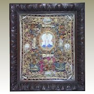 Antique French Holy Reliquary Saints  Catholic Paperolle Devotional Monastery Work
