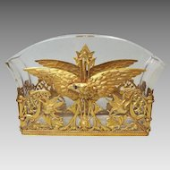Antique French Empire Jardiniere Crystal Dore Bronze EAGLE