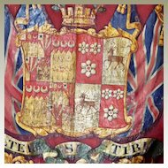 Antique English Armorial Trumpet Banner Coat of Arms Heraldic Banner