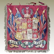 Antique English Armorial Trumpet Banner Coat of Arms Heraldic Banner Sherif of Norwich