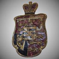 Antique Armorial Heraldic Coat of Arms Papier Mache Royal Crown