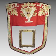 Antique French Armorial Chateau Door Portiere Silk Satin Applique Heraldic Royal Crown