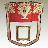 Antique French Armorial Chateau Door Portiere Silk Satin Applique Heraldic Royal Crown