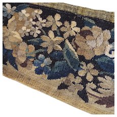 17th Century French Aubusson Verdure Tapestry Weave Panel Flowers