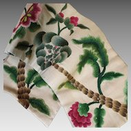 Antique English Crewel Work Embroidery Pelmet Panel Needlework Flowers