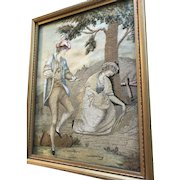 Exquisite 18th Century English Embroidery  Romantic Figural Silk Needlework