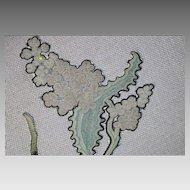 17th Century Embroidery Slip Spot Motif Antique Needlework Crewel Applique Flower
