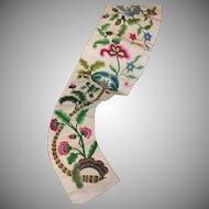 Antique English Crewelwork Embroidery Panel Pelmet Valance Needlework Flowers