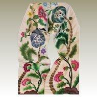 Antique English Crewel Work Embroidery Valance Pelmet Needlework Flowers Jacobean Decor