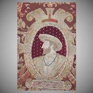 Antique English Needlework Panel Petit Point Tapestry King Henry IV
