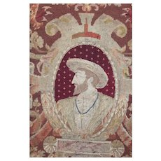 Antique English Needlework Panel Petit Point Tapestry King Henry IV