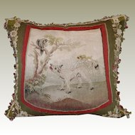 Antique French Aubusson Figural Tapestry Pillow  WOLF BIRD