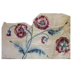 18th Century English Silk Embroidered Flowers Antique Needlework