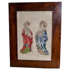 C1600 French Silk Embroidery Fragments Gold  Metallic Threads Antique Needlework