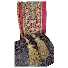 Antique French Empire Tassel Tieback Gold Metallic HUGE