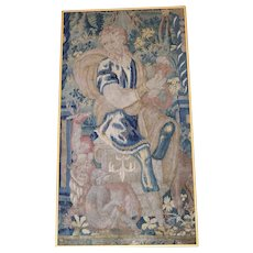 17th Century French Aubusson Tapestry Panel Nobleman Musical Animals Monkey