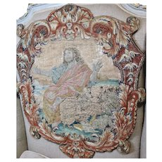 French Louis XV Embroidery Stumpwork Panel Antique Needlwork