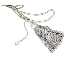 Antique French Silver Metallic Tieback Tassel Caterpillar Passementerie
