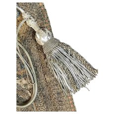 French Baroque Tassels Antique Curtain Tie Backs Silver Metallic Caterpillar Passementerie