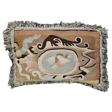 Antique French Tapestry Pillow 18th Century Aubusson Tapestry