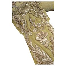 Antique French Embroidered Applique Flowers Rose Gold Metallic Needlework