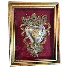 Antique Italian Religious Jeweled Ex Voto Sacred Heart Devotional Reliquary Monastery Goldwork