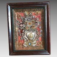 Antique Italian Jeweled Baroque Ex Voto Sacred Hear Reliquary Catholic Devotional Monastery Work
