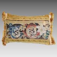 Antique Flemish Verdure Tapestry Cushion