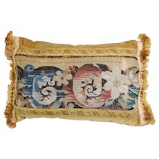 Antique Flemish Verdure Tapestry Cushion