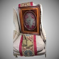 RARE 17th Century Cardinals Coat of Arms Ecclesiastical Embroidered Armorial Gold Metallic Silk Heraldic Stumpwork