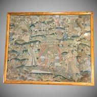 17th Century English Embroidery Picture Esther King Ahasuerus Antique Needlework