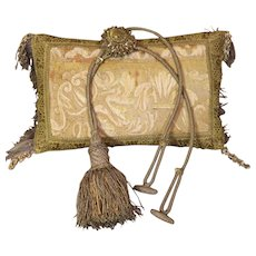 Antique French Chateau Curtain Tieback Gold Metallic Tassel