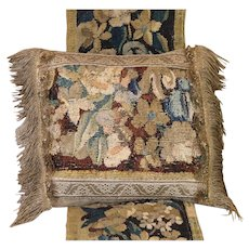 Antique Flemish Verdure Tapestry Pillow Flowers Gold Metallic Lace Tassel Trim