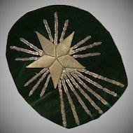 Antique French Empire Applique Gold Metallic Embroidered Stumpwork Star