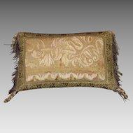 Antique French Aubusson Tapestry Pillow Gold Metallic Tassel Fringe Silk Passementerie