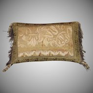 Antique French Aubusson Tapestry Pillow Gold Metallic Tassel Fringe Silk Passementerie