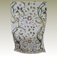 Antique English Crewel Work Embroidered Panel Exotic Flowers