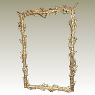 Antique Picture Frame French Carved Gilded Wood Chinoiserie Decor