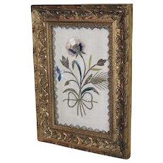 17th Century English Embroidered Silk Needlework Flower Posy