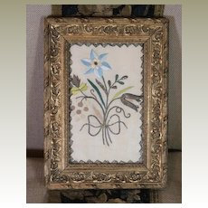 Antique English Embroidered Picture 17th Century Needlework Garden Flowers