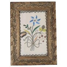 17th Century English Embroidery Silk Needlework Picture Flower Posy