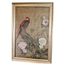 Antique Hand Painted Silk Chinese Scroll Painting Parrot Peonies Chinoiserie Decor
