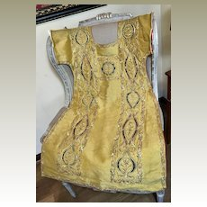 Antique Chasuble Front French Religious Vestment Gold Metallic Embroidered Stumpwork